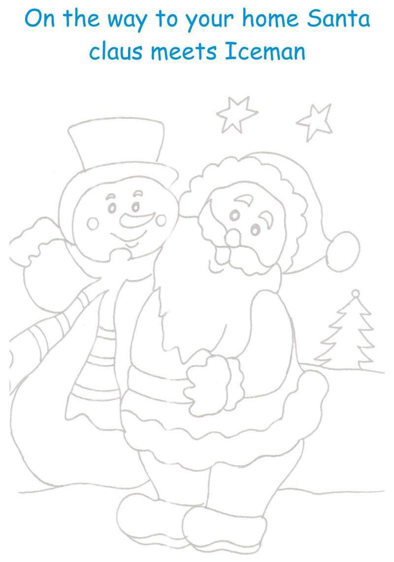 Santa and Iceman coloring printable page for kids