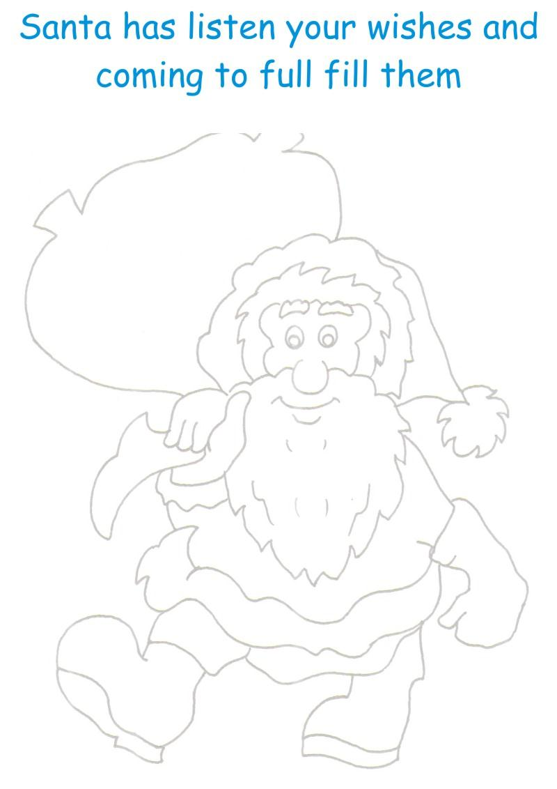 Santa with Gifts2 printable page coloring for kids