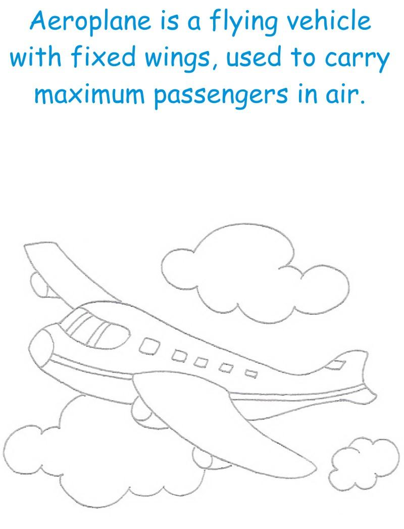 Aeroplan  printable coloring page for kids