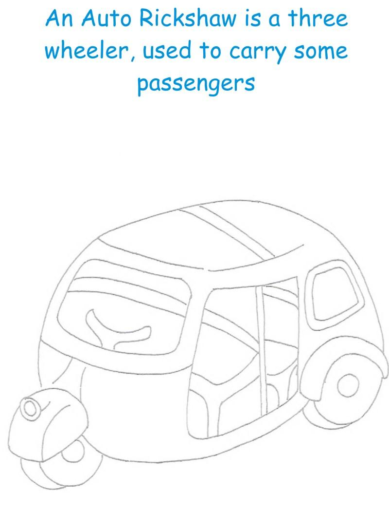 Auto Rickshaw printable coloring page for kids