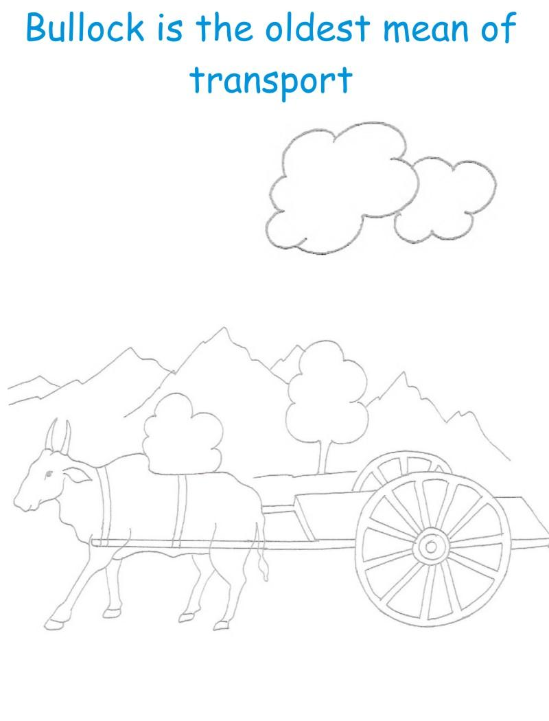Bullock Cart printable coloring page for kids
