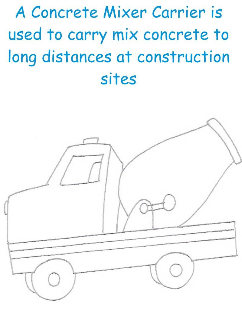 Concrete Mixer Carrier coloring page for kids