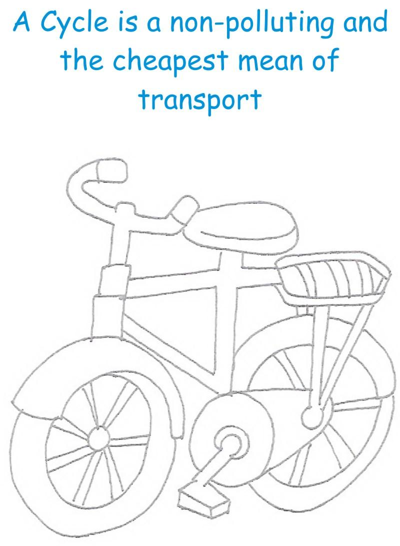 Cycle printable coloring page for kids
