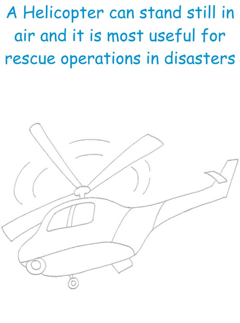 Helicopter printable coloring page for kids