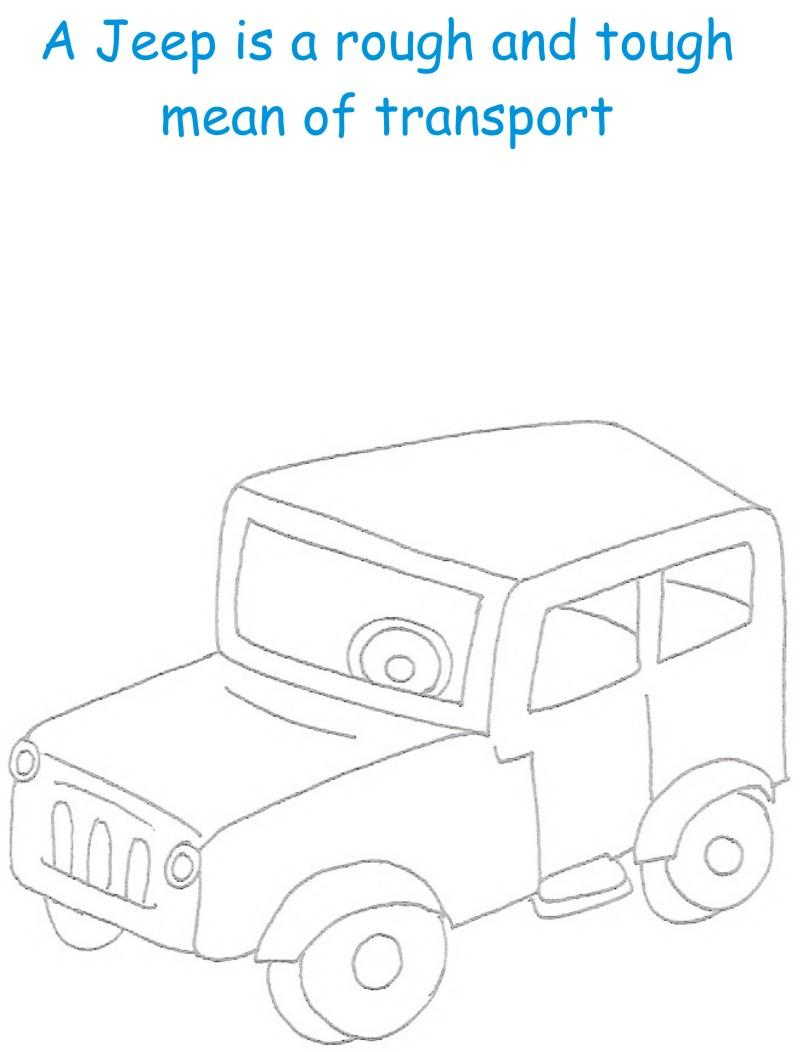 Jeep printable coloring page for kids