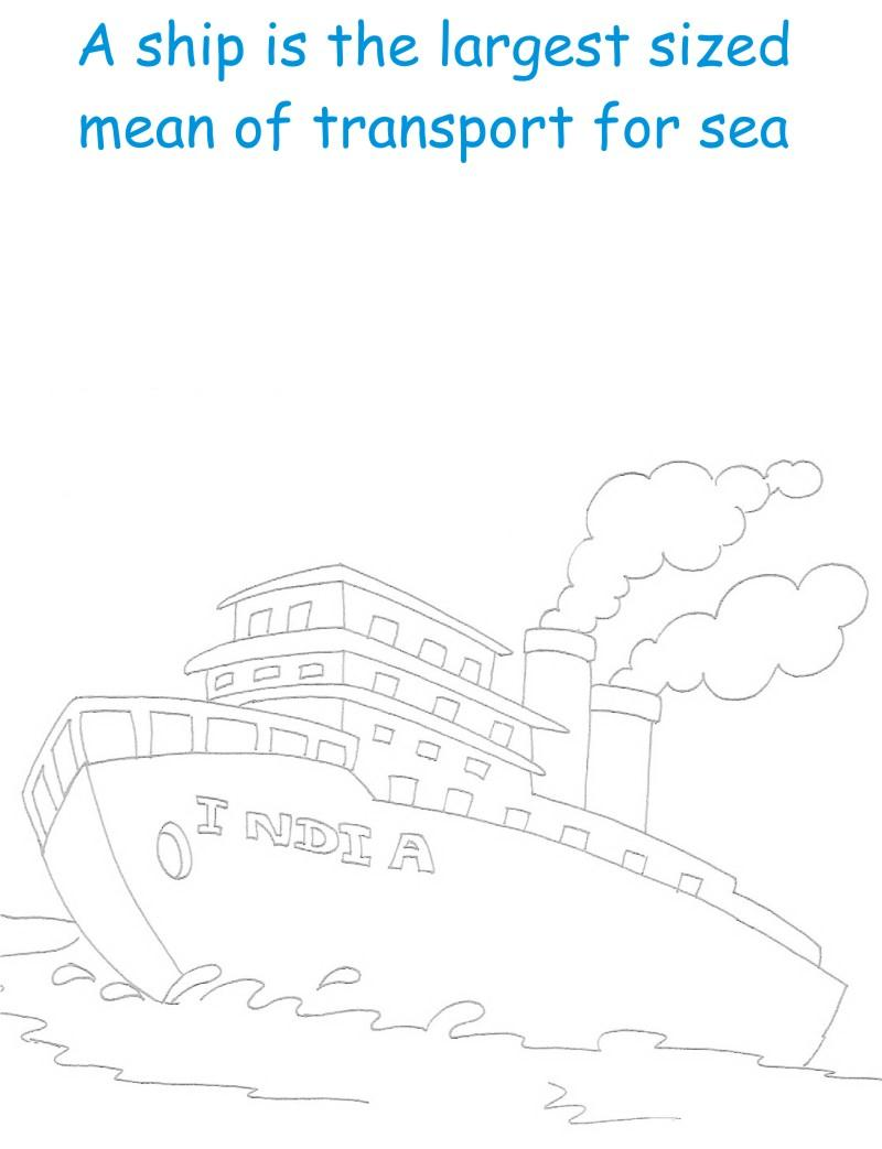 Ship printable coloring page for kids
