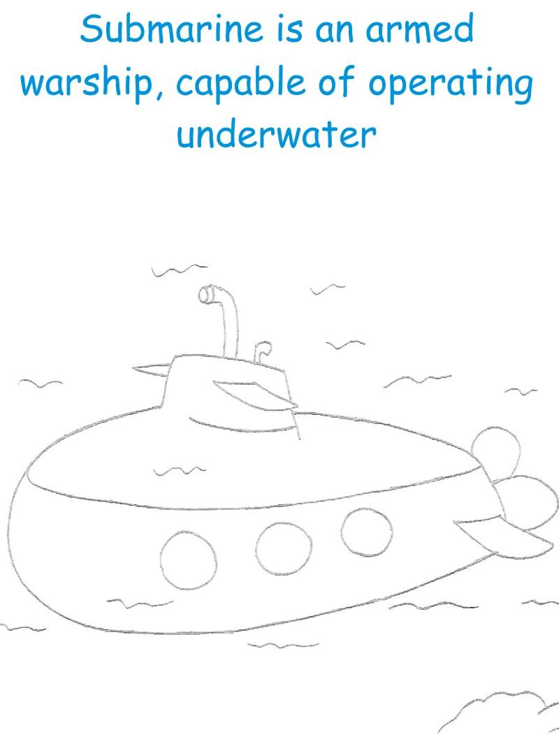 Submarine printable coloring page for kids