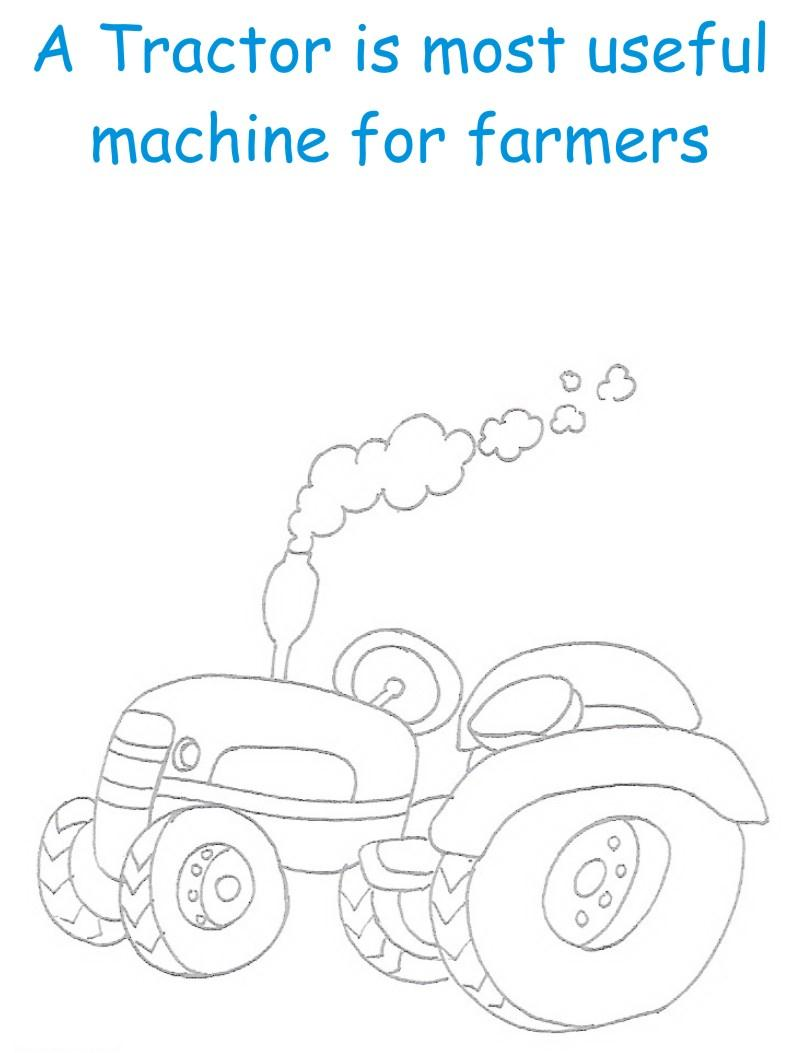 Tractor printable coloring page for kids