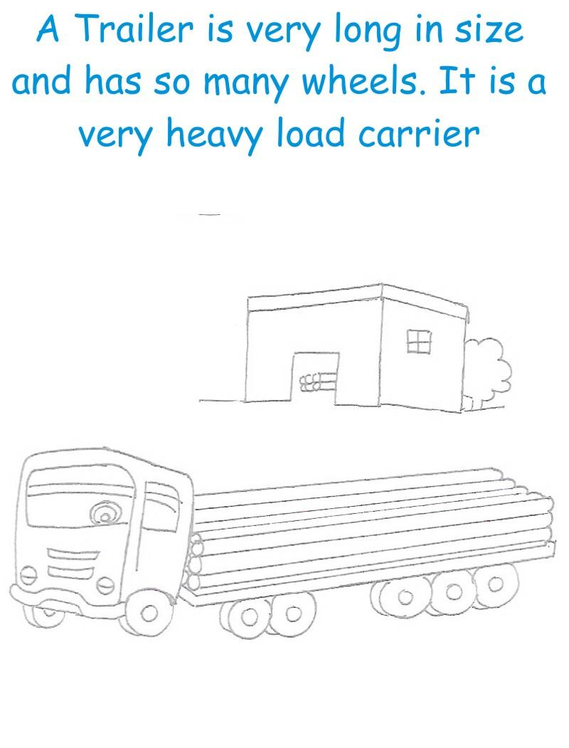 Trailer printable coloring page for kids
