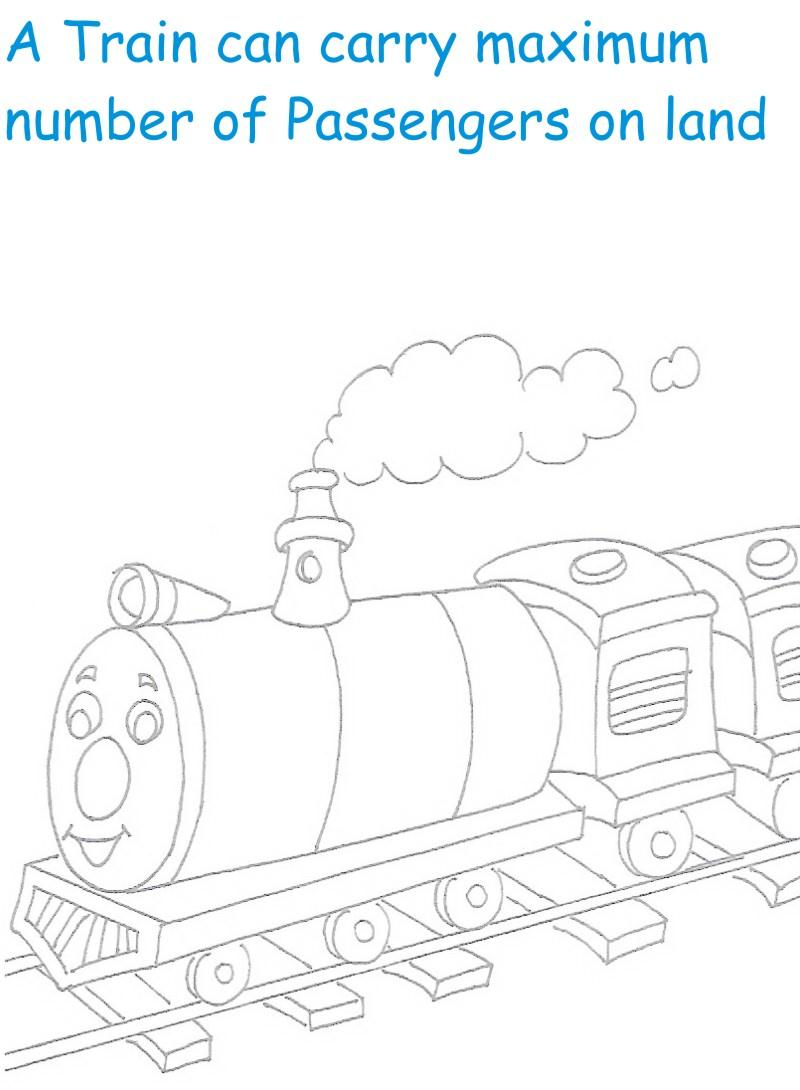 Train printable coloring page for kids