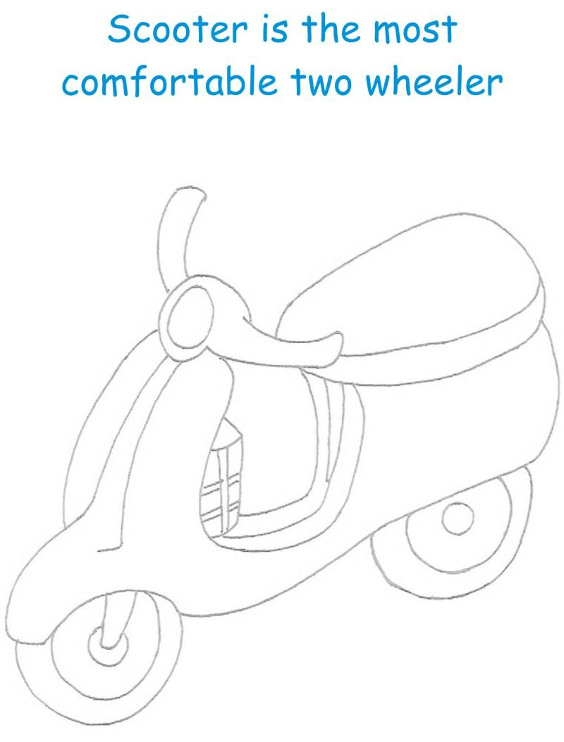 Scooter printable coloring page for kids