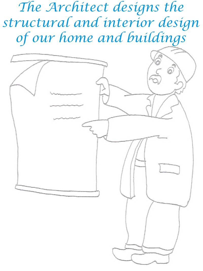 Architect coloring printable page for kids