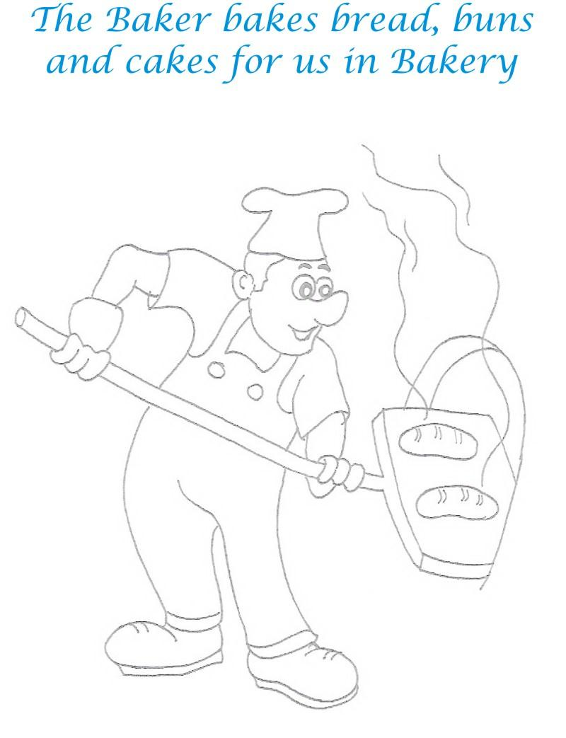 Baker coloring printable page for kids
