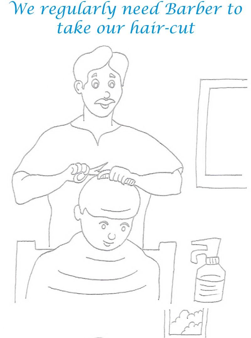 Barber coloring printable page for kids