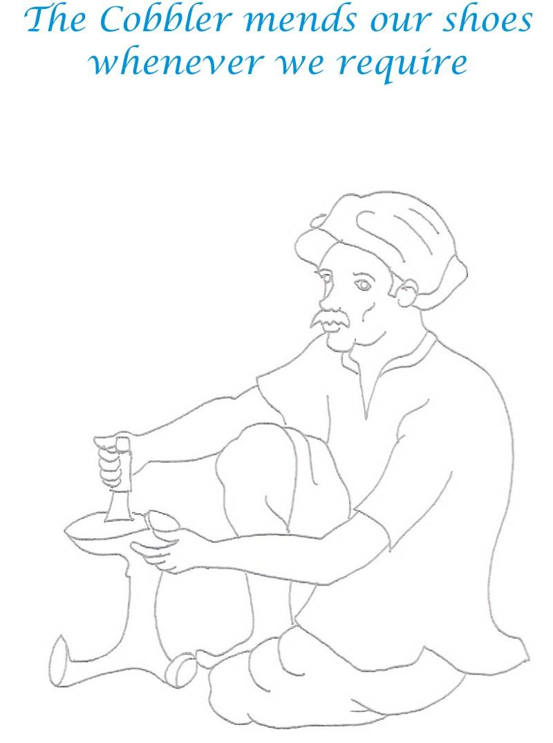 Cobbler coloring printable page for kids