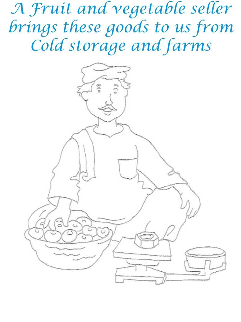 Fruit Seller printable coloring page for kids
