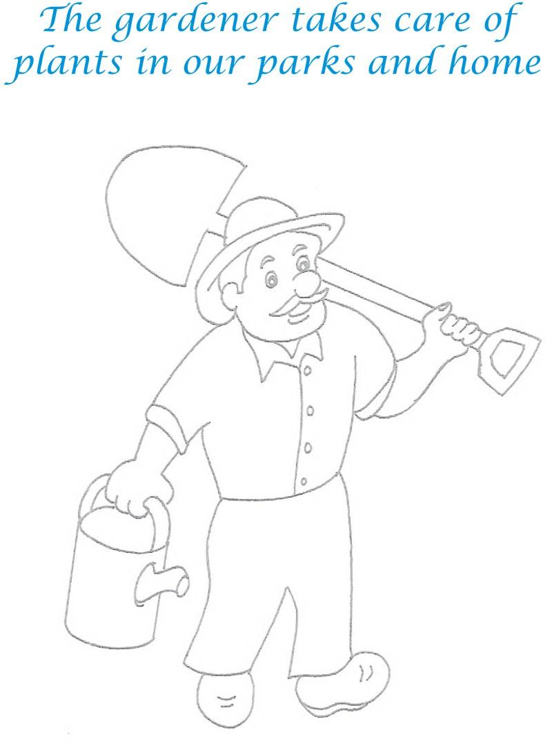 Gardener printable coloring page for kids
