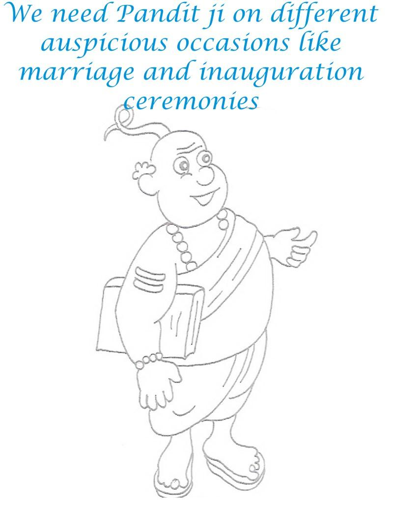 Panditji coloring printable page for kids