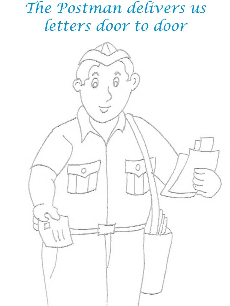 Postman printable coloring page for kids
