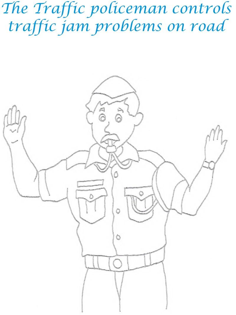 traffic policeman coloring printable page for kids