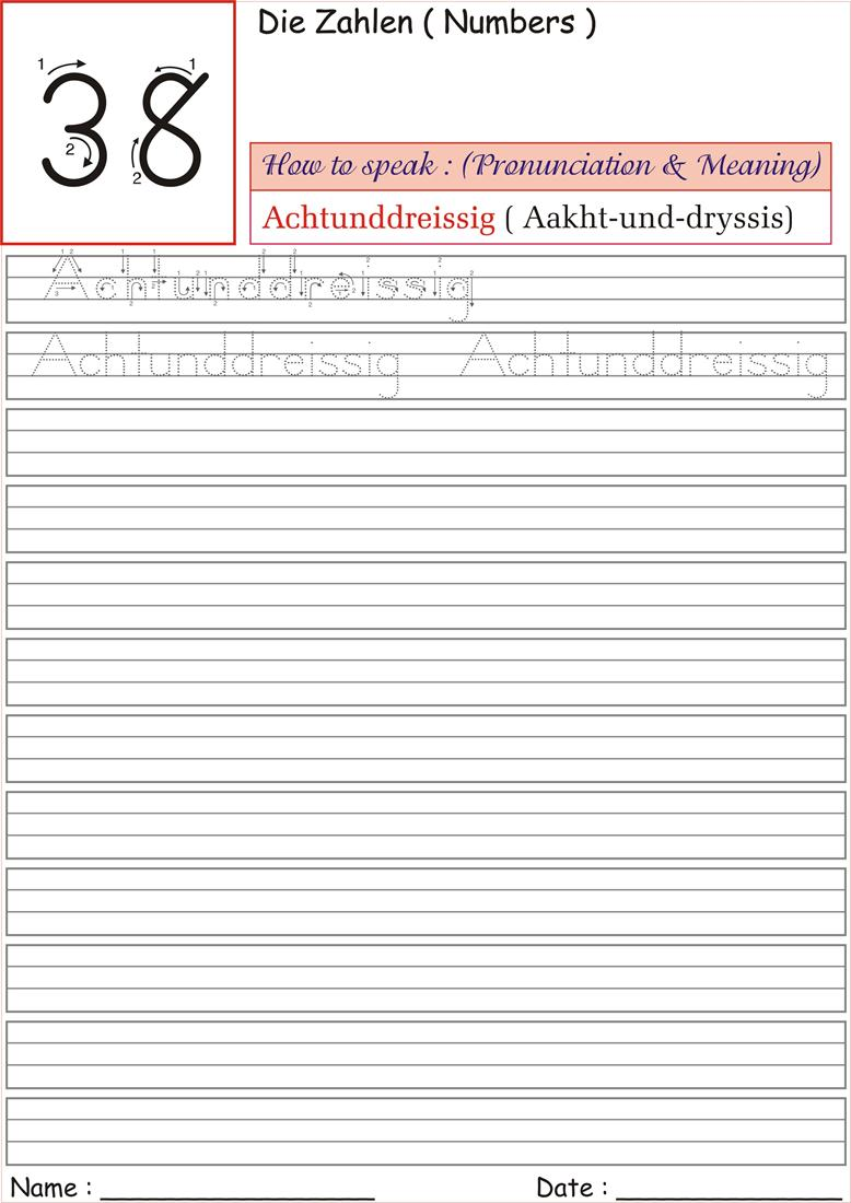 German Number Worksheet for practice - Achtunddreissig