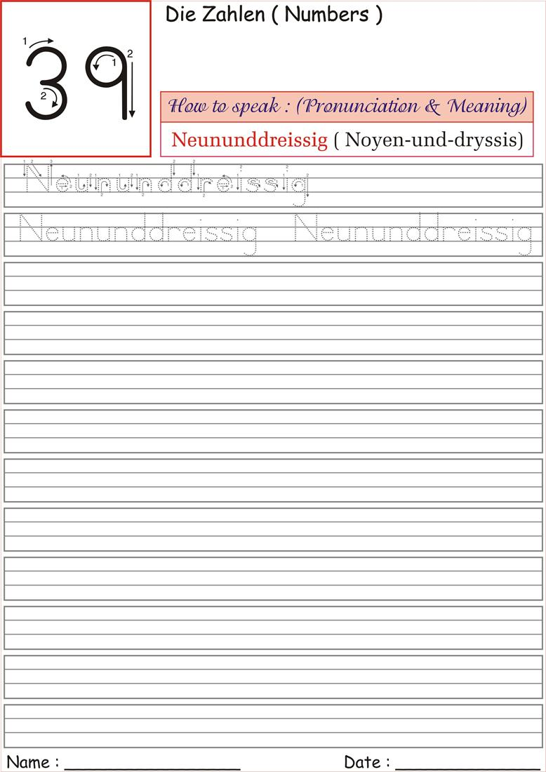 German Number Worksheet for practice - Neununddreissig