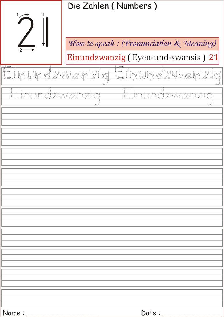 German Number Worksheet for practice - Einundzwanzig