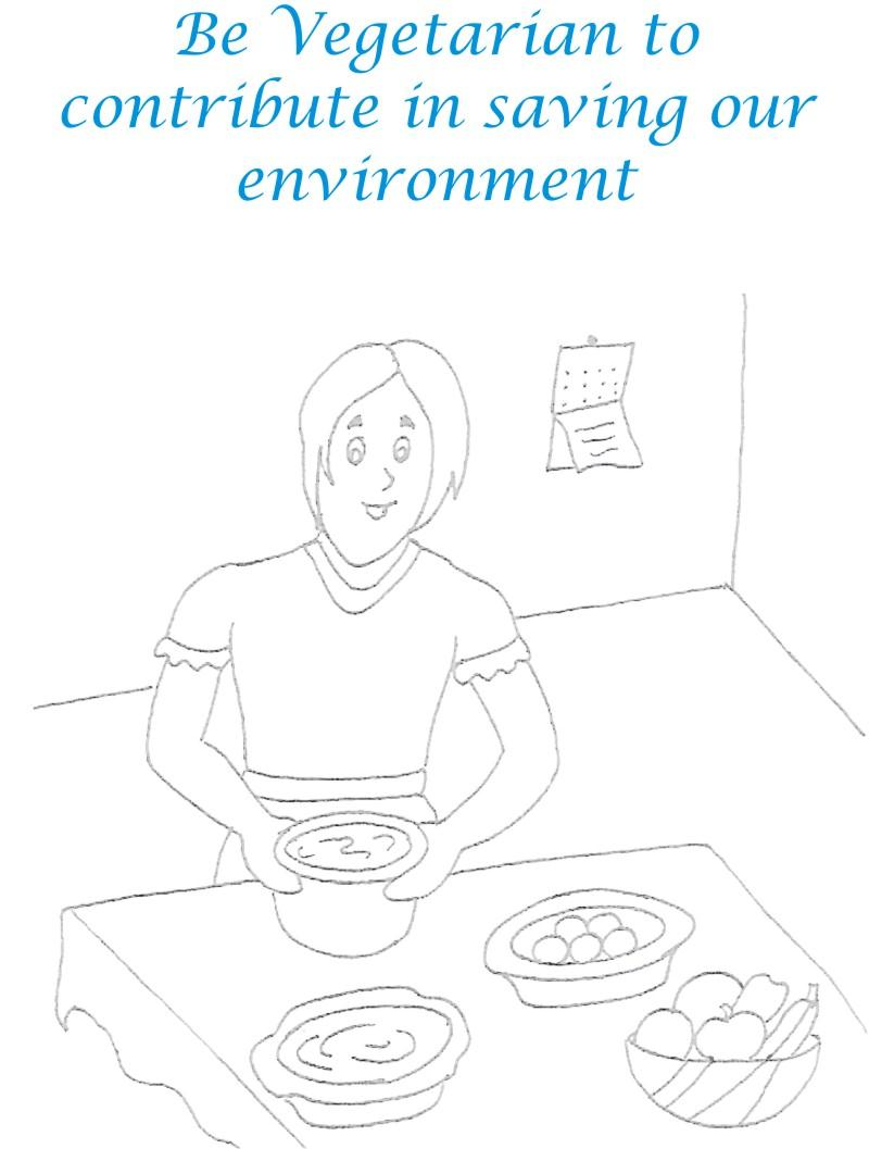 Be Vegetarian Coloring Page