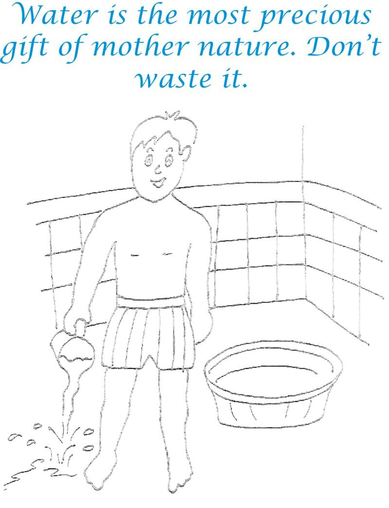 Save Water Save Environment Coloring Page