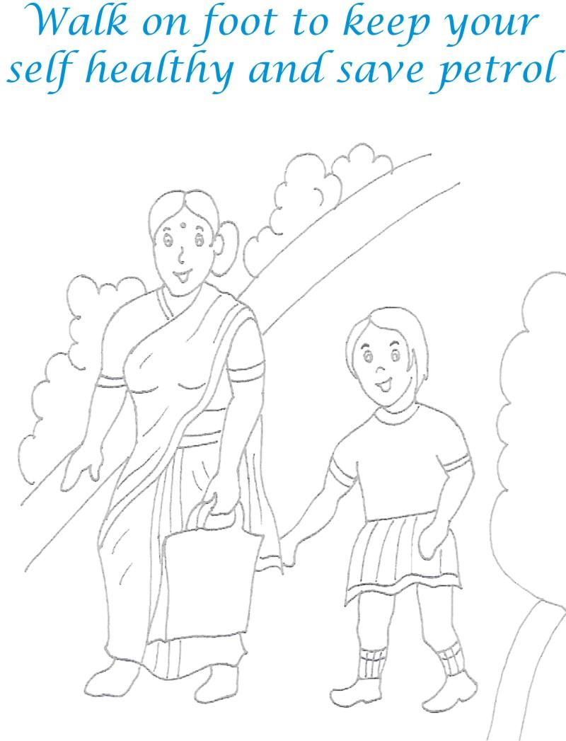 Walk to Save Environment Coloring Page