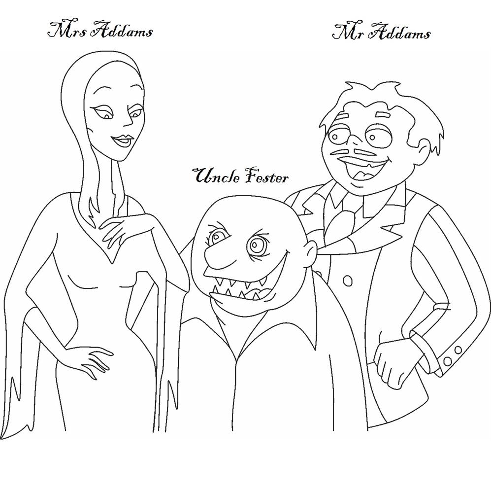 Mr & Mrs Addams with Uncle Fester