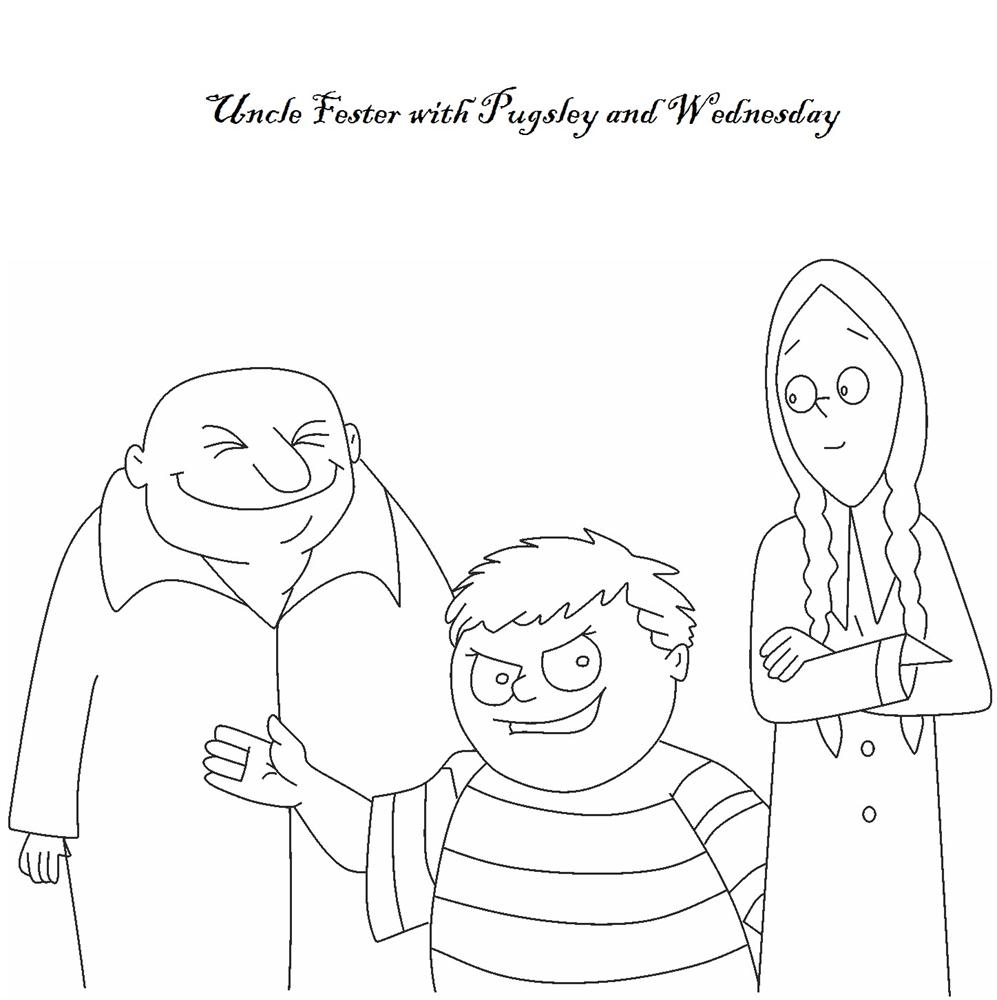 Uncle Fester with Wednesday & Pugsley