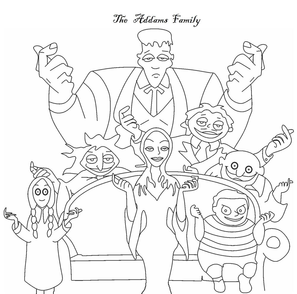 The Addams Family coloring pages - The Family picture together