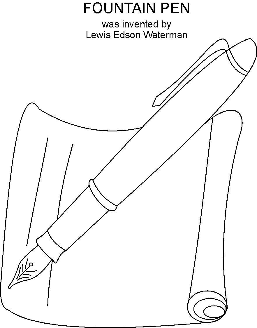 fountain pen coloring printable page