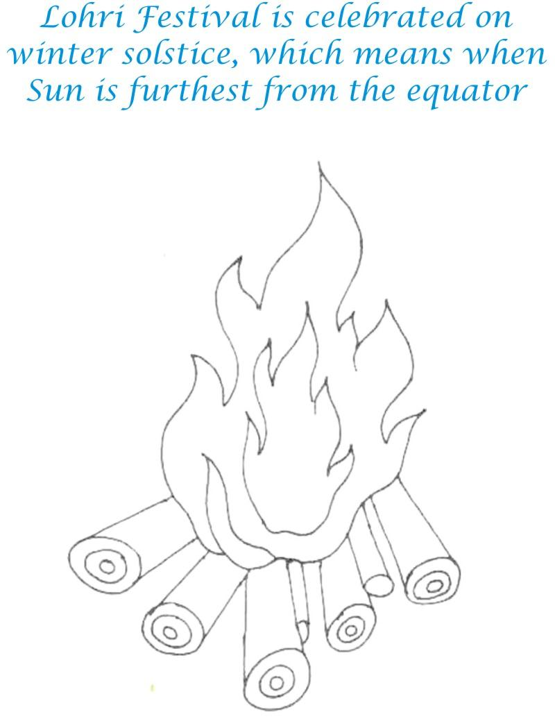 Lohri Fire Printable coloring page for kids