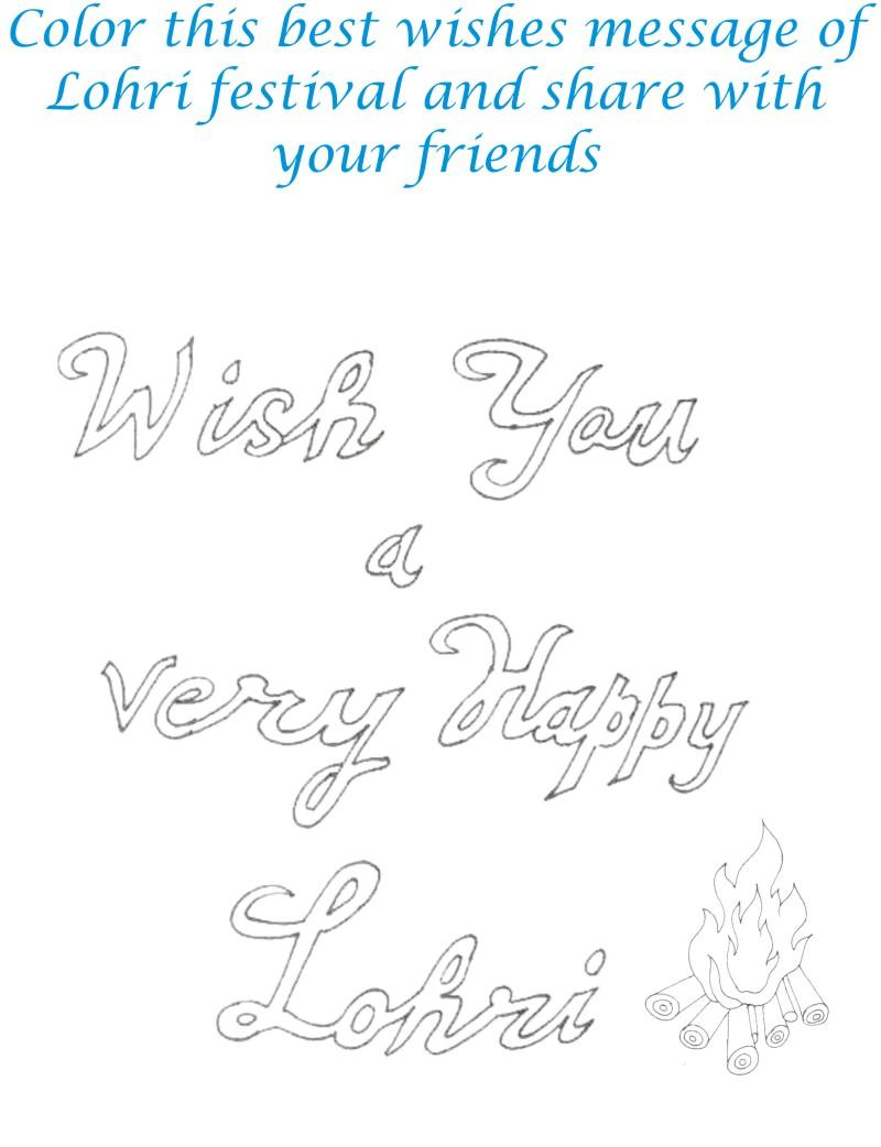 Lohri Wishes Coloring Printable Page for kids