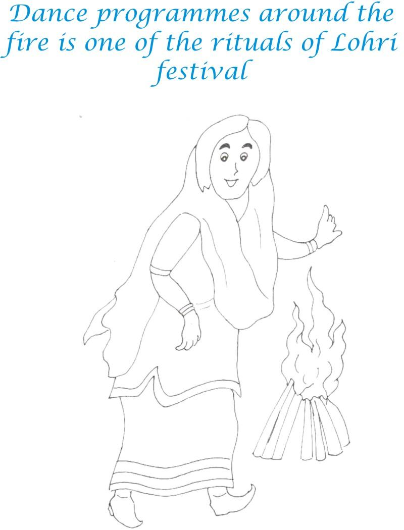 Lohri Rituals Coloring Printable Page for kids