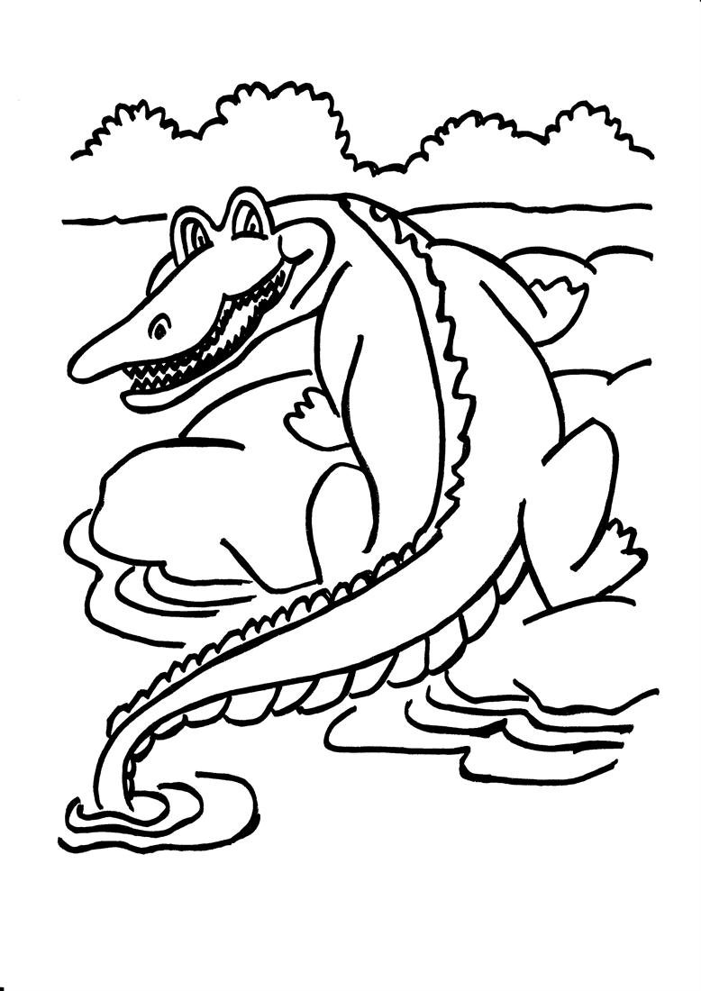 Dangerous crocodile coloring printable page