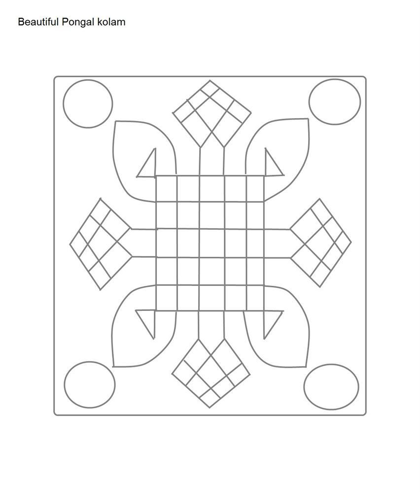 Pongal kolam coloring page2 for Pongal coloring pages