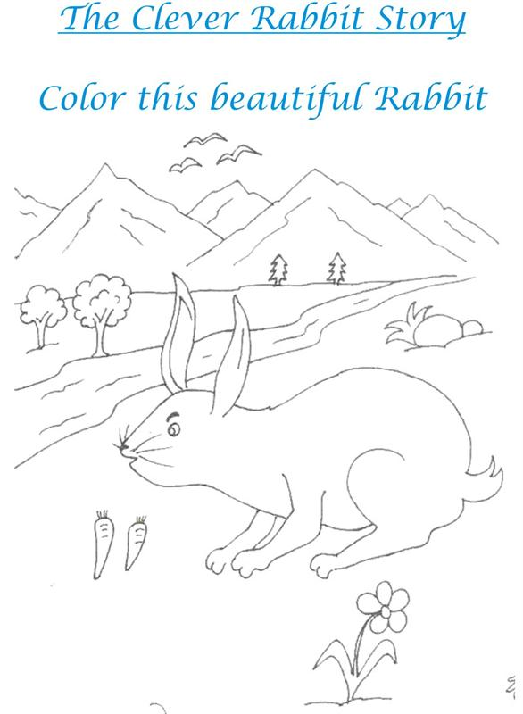 The Clever Rabbit Story Coloring Printable Page for kids