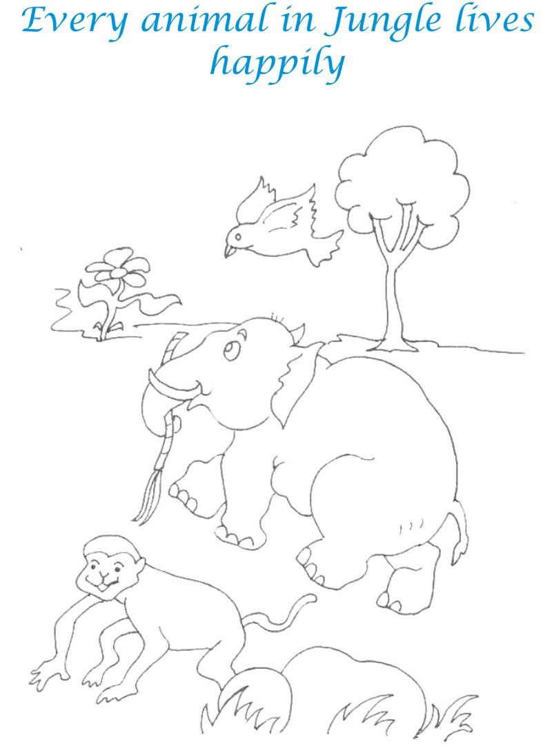 Animals in Jungle coloring printable page for kids