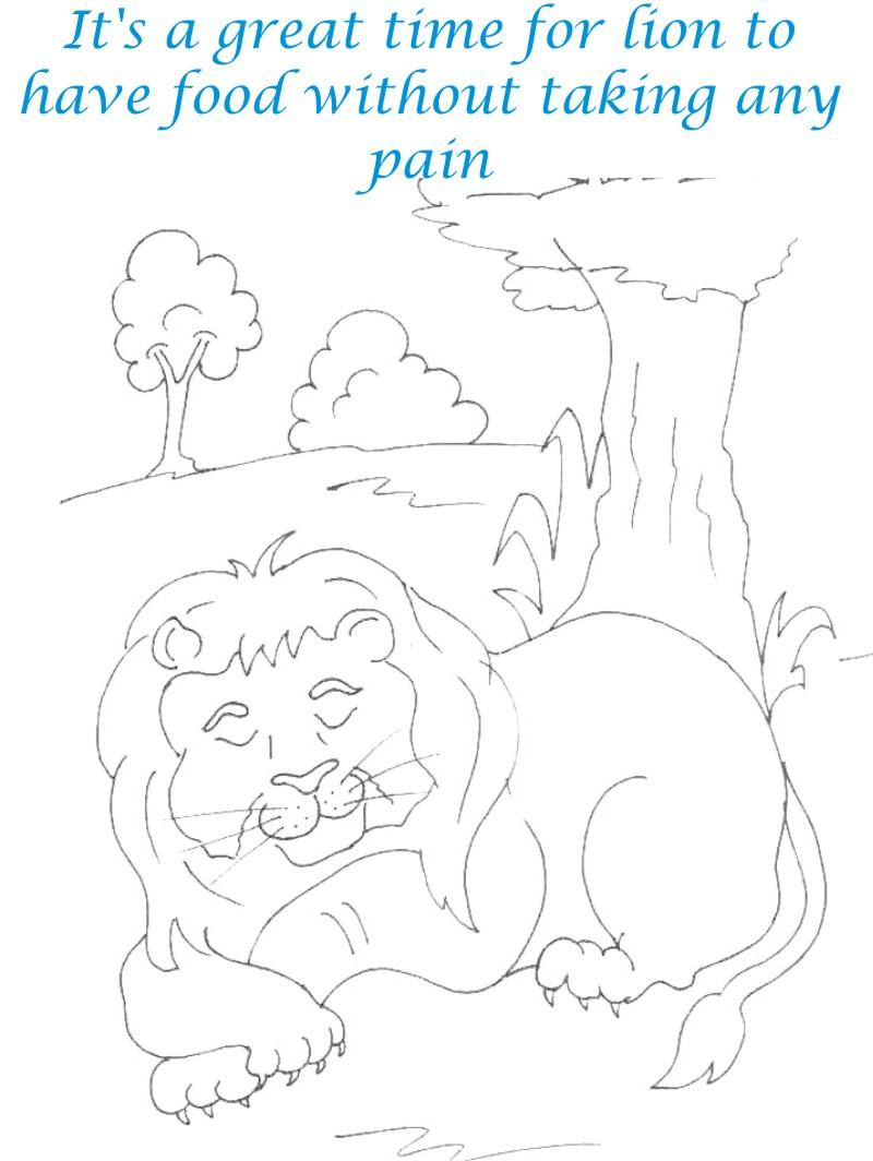 Lion on Rest coloring page for kids
