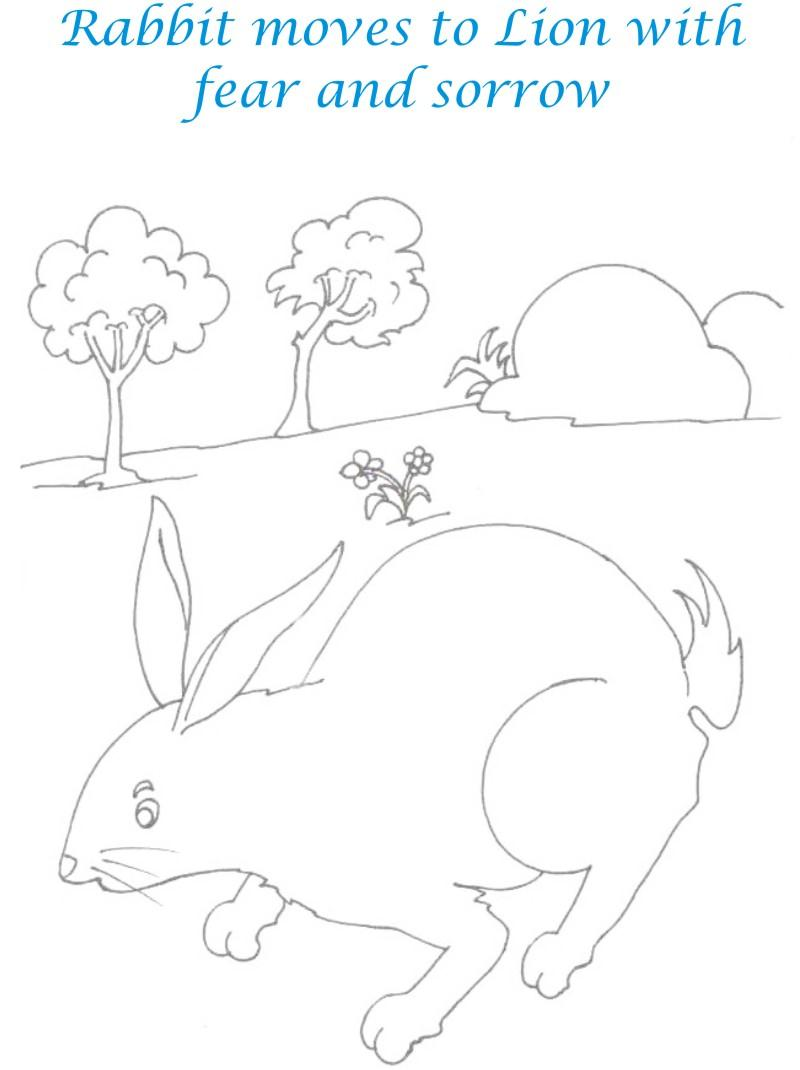 Rabbit on the way coloring page for kids