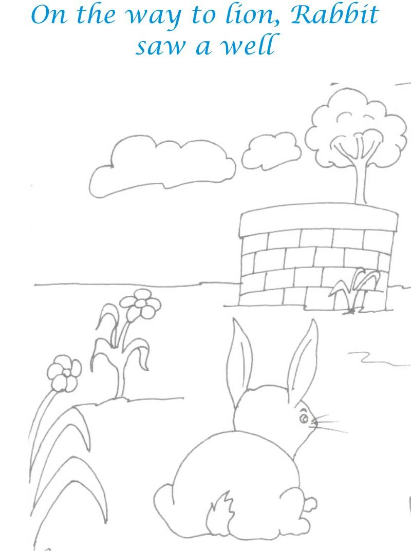 Rabbit Sees a well coloring page for kids