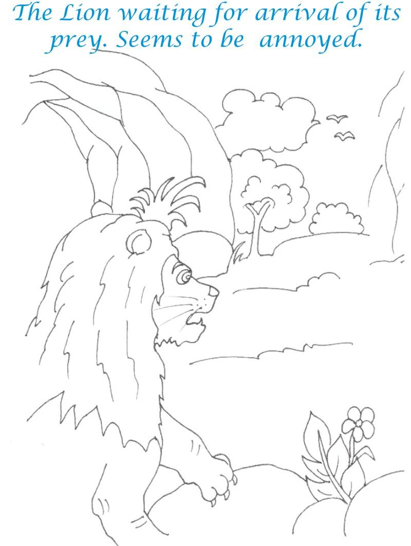 Lion waiting for prey coloring page for kids