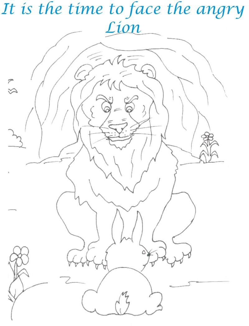 rabbit facing angry lion coloring page for kids