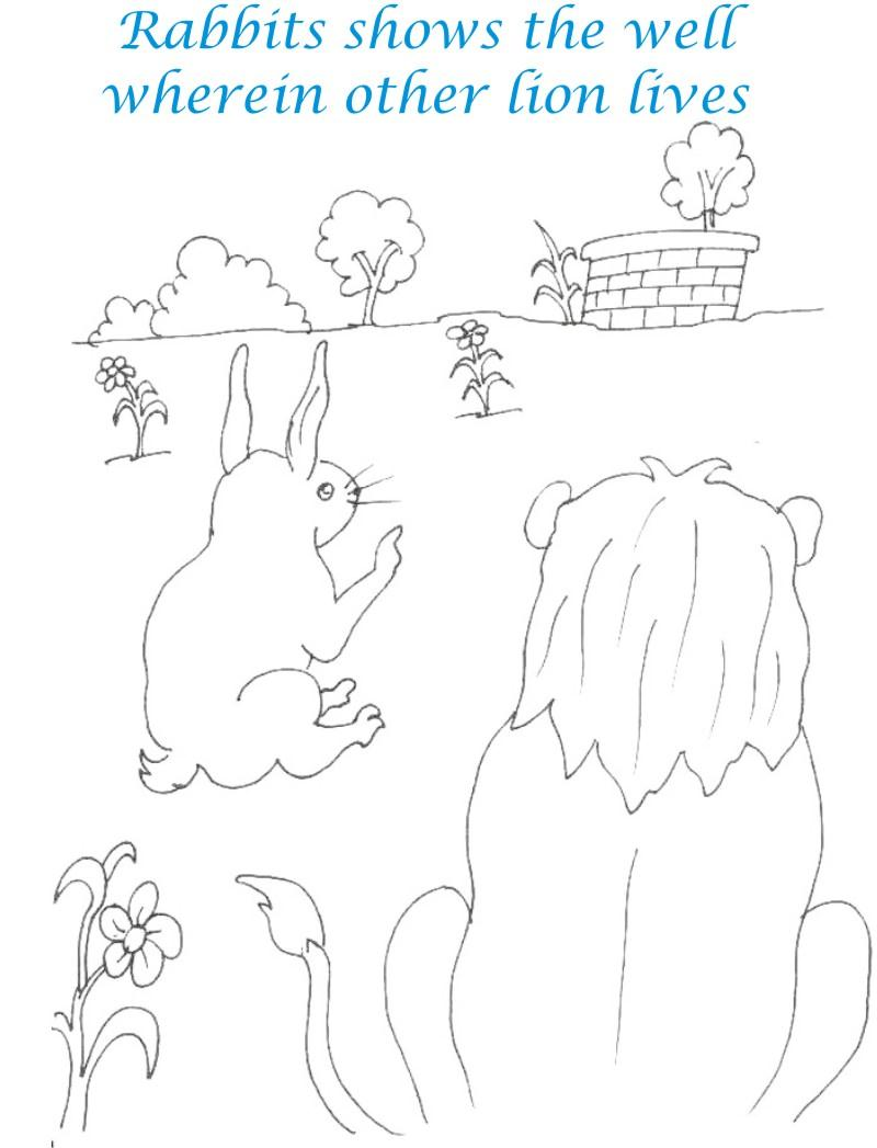Rabbit shows well to lion coloring page for kids