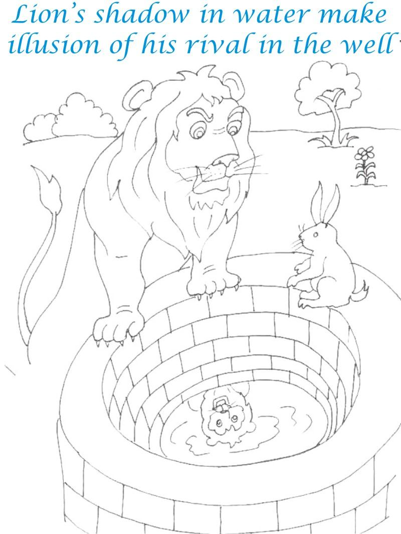 Lion looks own shadow in well coloring page for kids