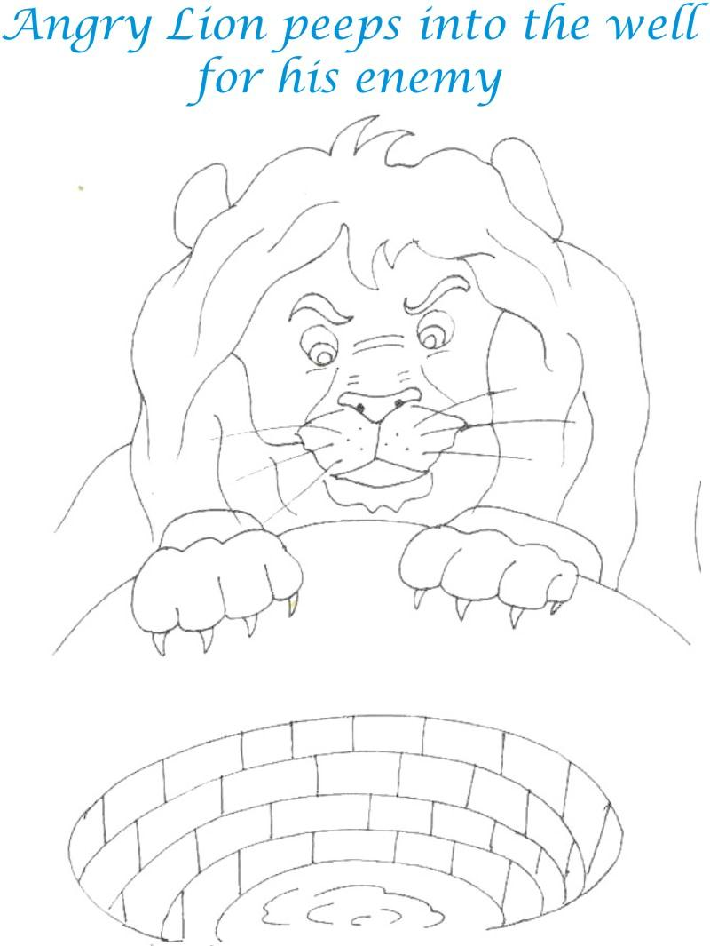 Lion peeps into the well coloring page for kids