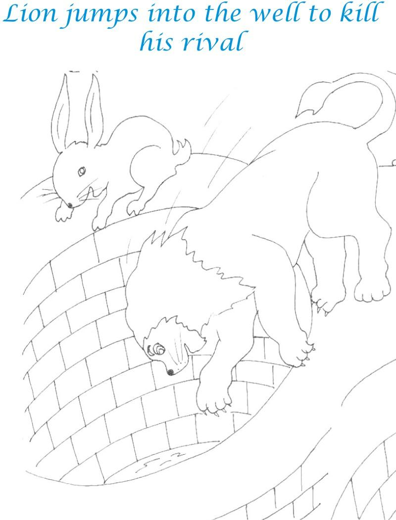 Lion jumps into well coloring page for kids